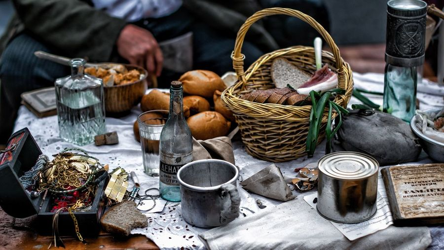 Container Large Group Of Objects High Angle View Still Life Choice Day Variation Table Outdoors No People Abundance Art And Craft Food For Sale Basket Food And Drink Craft Market Nature