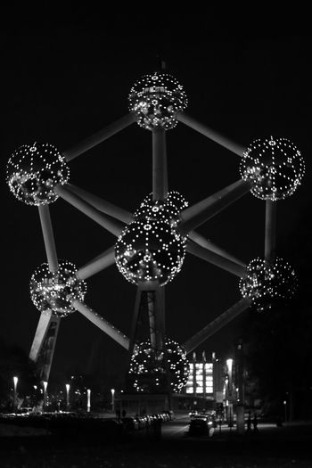 Architecture Atomium Black And White Blackandwhite Brussels Built Structure Illuminated Low Angle View Luxury Night No People