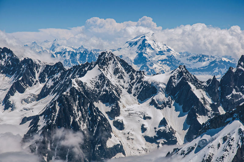 Close-up of snowy peaks and mountains, viewed from the aiguille du midi, near chamonix, france.