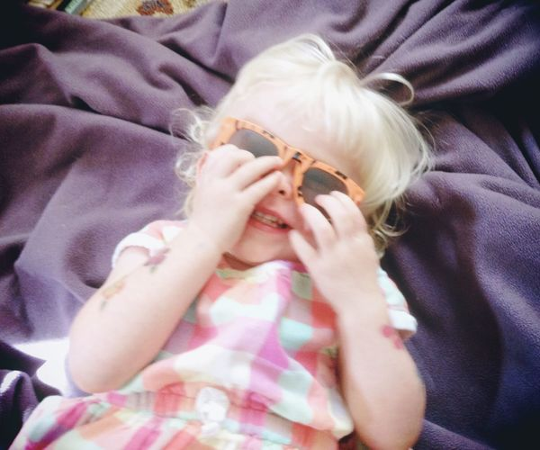 The Portraitist - 2015 EyeEm Awards Child 3 Year Old Girl Cute Sunglasses Giggle Relaxation Casual Giggly Girl