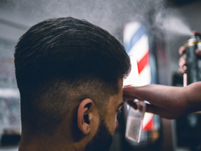 Close-up of man in barber shop