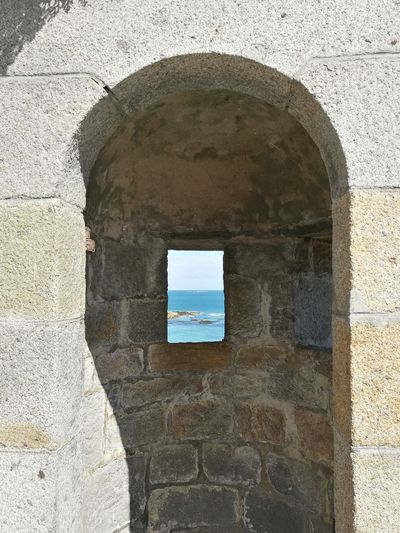 View From A Battlement Little Window Sea Manche France Old Stone Wall Historical Monuments Holidays