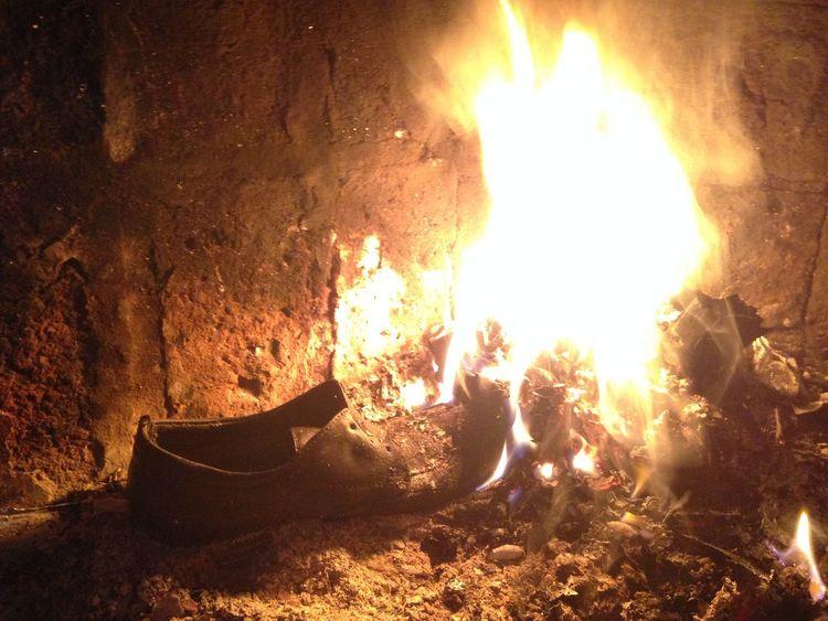 Burning Fire Flame Illuminated Night Shoe Spark