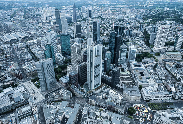 Aerial View Architecture Building Exterior City City Life Cityscape Crowded Day Downtown District Frankfurt Frankfurt Am Main Helicopter View  Outdoors Skyscraper Skyscrapers Tower Travel Destinations