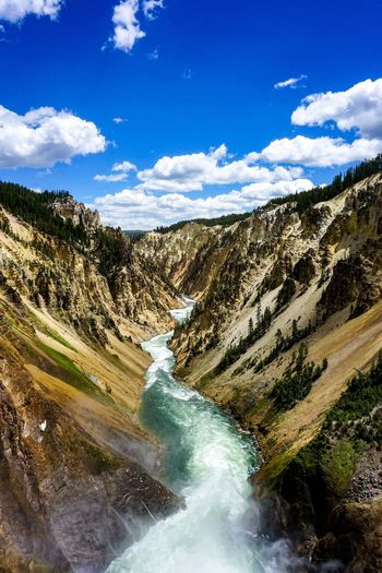 Grand Canyon Of The Yellowstone Yellowstone Yellowstone National Park Beauty In Nature Cloud - Sky Day Environment Flowing Flowing Water Land Landscape Motion Mountain Nature No People Non-urban Scene Outdoors Power In Nature River Rock Scenics - Nature Sky Solid Tranquil Scene Water
