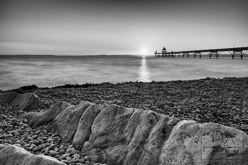 Sunset tonight over Clevedon Pier, North Somerset. Seascape Somerset Clevedon Clevedonpier Northsomerset Coast Coastal Englandsbigpicture Beach Pier Waves Sand Rocks Sunset Landscape Bwphotography Monophotography Swisbest