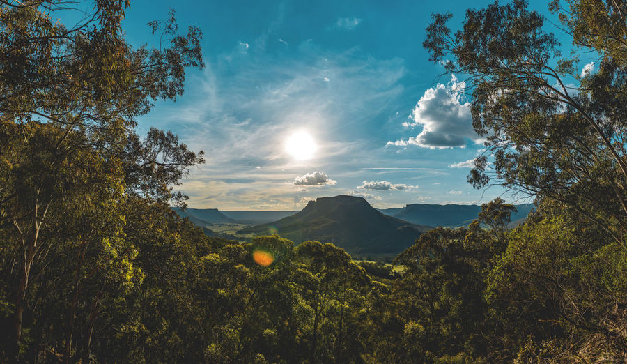 Australian Landscapes Bushes And Trees Dreaming Exploring Longing Nature Panoramic Australian Landscapes Clouds And Sky Destination Distance Glare Of The Sun Landscape Mountains Outdoors Relaxing Moments Sunbeam Sunglare Sunset Through The Trees Wollemi National Park