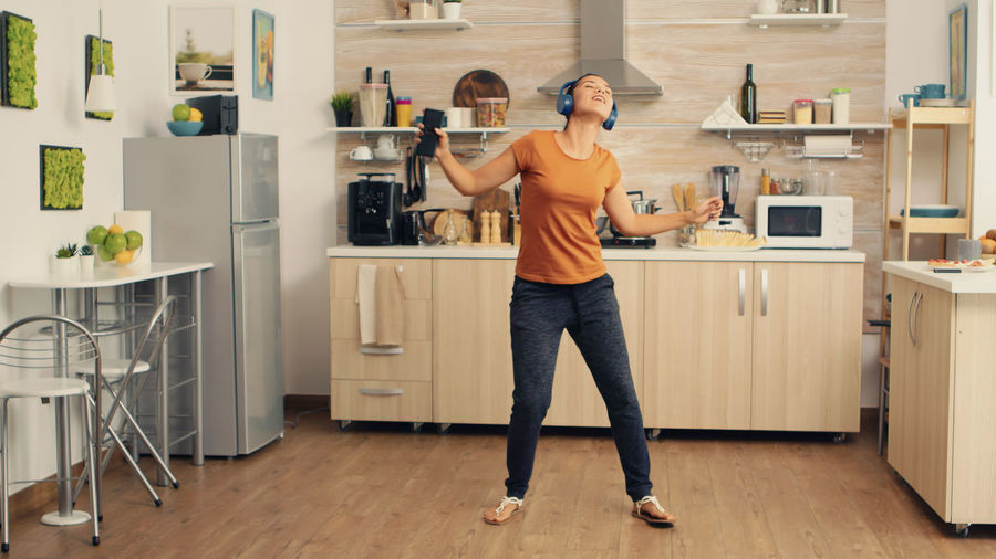 Full length of man standing at home