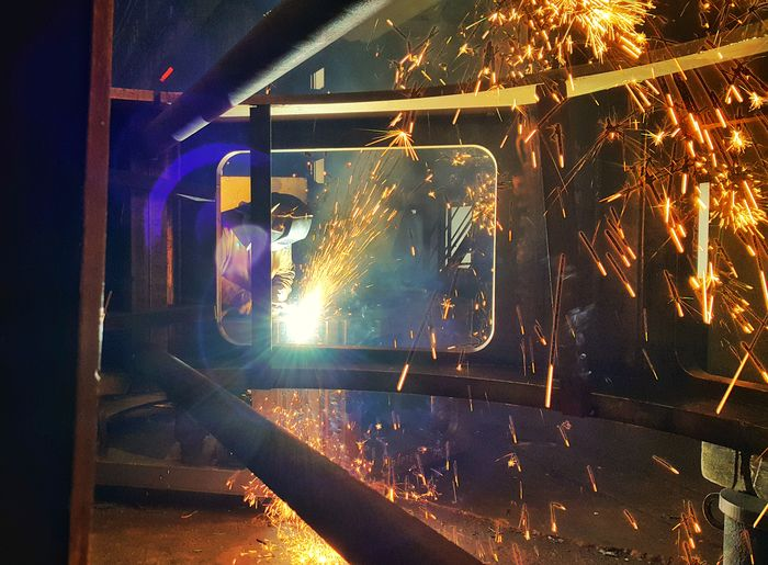 ... Steel Structure  Fabric Reflection Lights Shadows Shadow Work Ndt Light Welder One Person People Adults Only