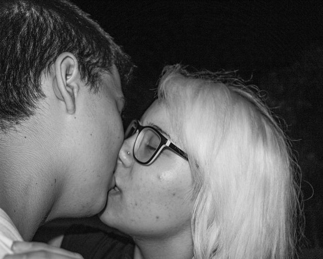 Kiss Night Portrait Two People Kissing Kiss Street People Eye Glasses Young Expression Emotion Love Expression Young People Kissing Young People Night Life Lifestyle Man Two People Emotions Love Face Girl Woman Life Couple Loving Glasses Human Boy Kissing Headshot Togetherness Positive Emotion Bonding Women Indoors  Females Real People Adult Men Close-up Eyes Closed  Young Adult Couple - Relationship Black Background Hairstyle Blackandwhite Black And White Black & White Black And White Photography Black And White Collection