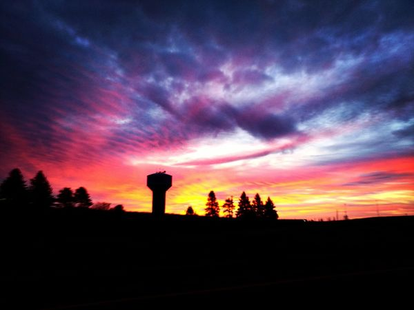 🌞 Every day a million miracles begin at sunrise! -Eric Jerome Dickey #sunrise #Godsbeauty #nature #miracles #outdoors #skywatcher #sky #clouds #citysilhouette #fireinthesky #horizon #mydrivetowork #onlyinmn #Minnesota #watertower #newday #sunlight #trees New Day Sunrise Godsbeauty Miracles Skywatcher Clouds Minnesota Citysilhouette Fireinthesky Horizon Mydrivetowork OnlyinMN Watertower Newday Sunlight Trees Sunset Silhouette Dramatic Sky Tree Landscape Scenics Cloud - Sky Nature Tranquil Scene No People Beauty In Nature Outdoors Sky