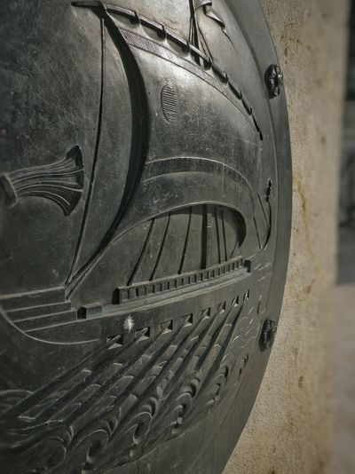 Athens Athens, Greece Syntagma Square Shield Bronze Curved  Emblem  Ancient Boat Greek Parliament