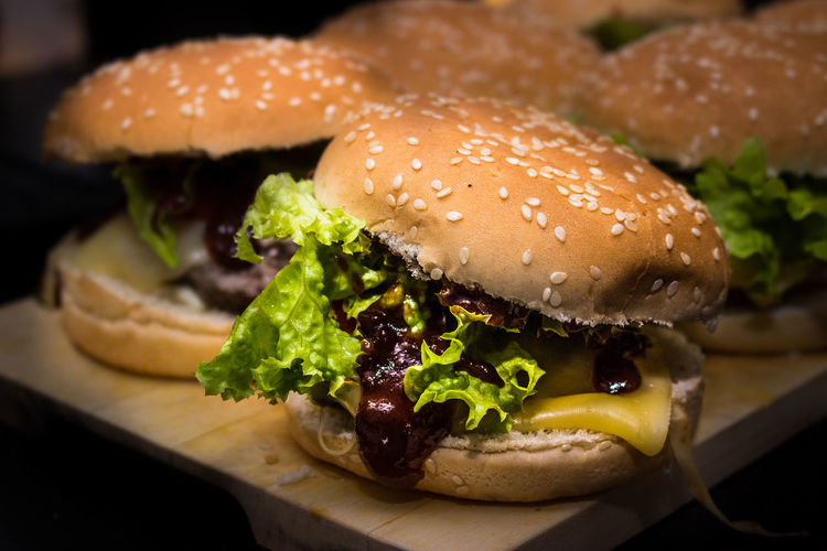 Close-up of hamburgers on table