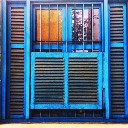 Travel Streetphotography Close-up Vietnam Ho-Chi-Minh City Architecture Built Structure Window Building Exterior Shutter No People Day Outdoors Full Frame Blue Corrugated Iron
