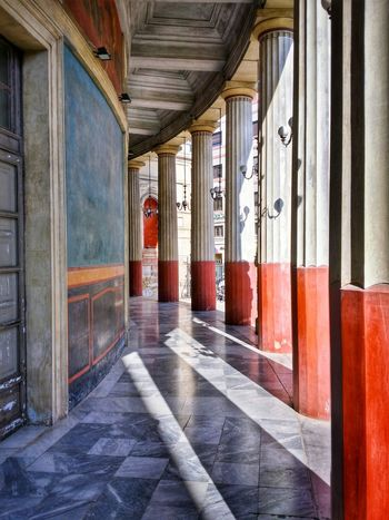 Teatro Politeama Palermo Sicily Italy Travel Photography Travel Voyage Traveling Mobile Photography Fine Art Neoclassical Architecture Historical Monuments Arcades Painted Columns Shadows Mobile Editing Feel The Journey