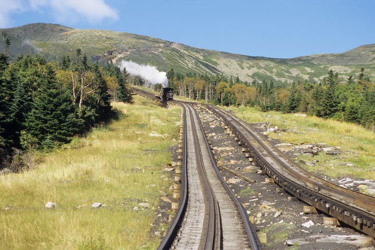 View of railroad tracks on mountain