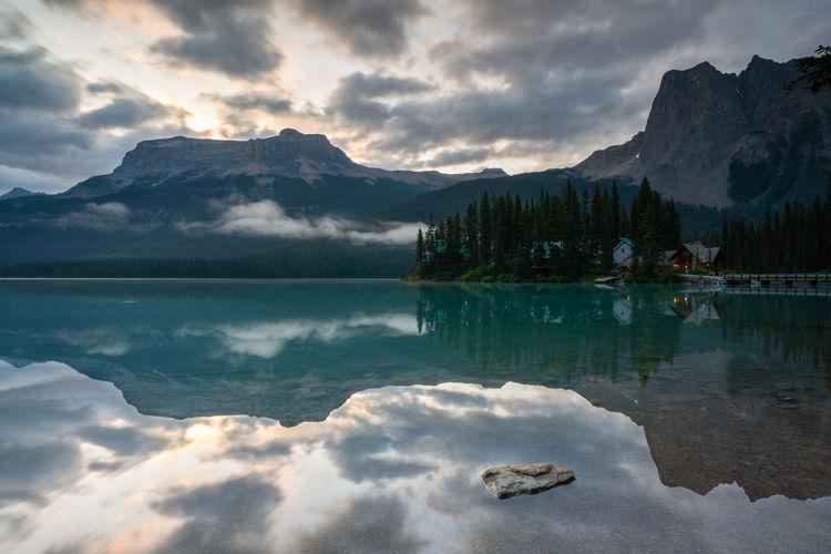 Panoramic image of emerald lake, beautiful landscape of yoho national park, british columbia, canada