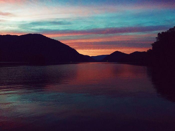 Scenics Mountain Beauty In Nature Sky Sunset Water Outdoors Mountain Range Travel Destinations First Eyeem Photo