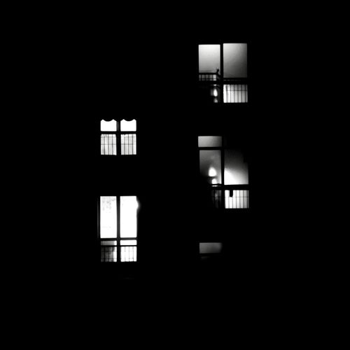 Silhouette of building at night