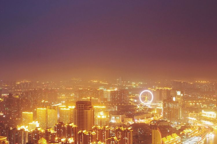 Aerial View Architecture Built Structure Capital Cities  City City Life Cityscape Dark Development Financial District  Glowing Illuminated Light Modern Night No People Office Building Outdoors Residential District Sky Skyscraper Tall Tall - High Travel Destinations Urban Skyline