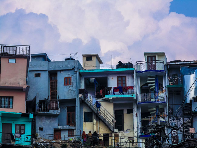 Architecture Blue Building Building Exterior Built Structure City City Life Cloud Cloud - Sky Cloudy Day Exterior India Multi Colored Mussoorie No People Outdoors Residential Building Residential District Residential Structure Sky Tadaa Community Taking Photos Traveling Uttarakhand