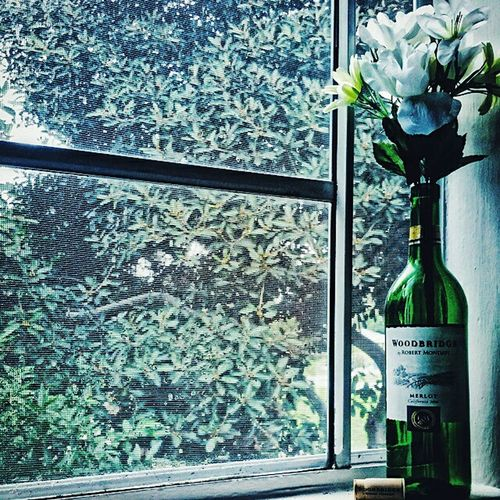 Good morning Morning Sunrise Wine Bottle Artificial Flower Window Tree Merlot