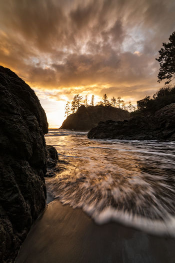 Sunset at Trinidad State Beach. Sunset Sky Water Cloud - Sky Scenics - Nature Sea Beauty In Nature Rock Land Nature Tranquil Scene Tranquility No People Beach Rock - Object Motion Solid Idyllic Outdoors Flowing Water Power In Nature