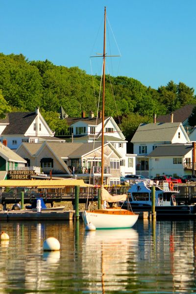 Boothbay Harbor Maine Architecture Building Exterior Built Structure Clear Sky Day Harbor Moored Nature Nautical Vessel No People Outdoors River Sailboat Sky Transportation Travel Destinations Tree Water Waterfront Wind Power Wind Turbine Yacht
