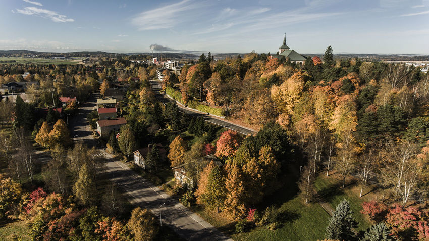 Aerial Photography Aerial View Architecture Autumn Autumn Colors Built Structure Church In Background Cityscape Day District Empty Road Finland Houses Old Church Salo Suomi Travel Tree Urban