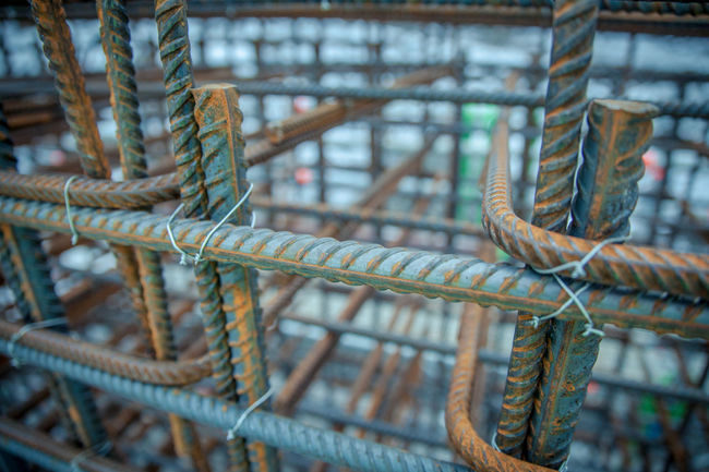 Company Construction Construction Site Knitting Rebar Working Workshop Building Building Exterior Close-up Concrete Construction Industry Construction Work Day Man Made Object No People Reinforcement Bar Rusty Steel Steel Structure