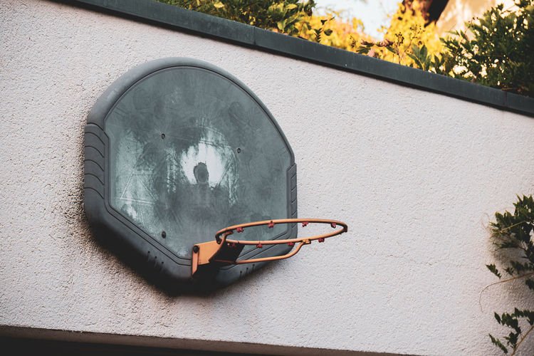 Close-up of eyeglasses on wall