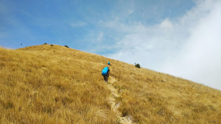 Low angle view of people hiking on mountain against sky