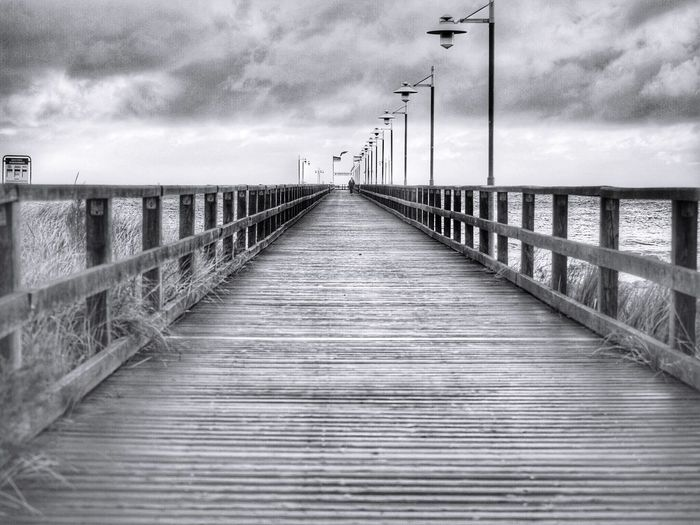 Bansin Seebrücke Direction The Way Forward Sky Cloud - Sky Railing Built Structure Connection Bridge No People Outdoors Wood - Material Pier Nature