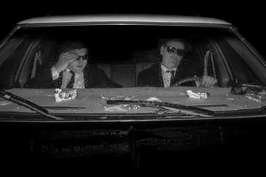 It's 106 miles to Chicago, we got a full tank of gas, half a pack of cigarettes, it's dark... and we're wearing sunglasses. Blue Onions Blues Brothers Dodge Fed Men Night Suites Sunglasses Two People