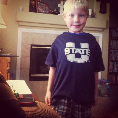 Bought my little brother and sister game day shirts. Couldn't find her for the picture. Aggies Usuaggies Utahstate