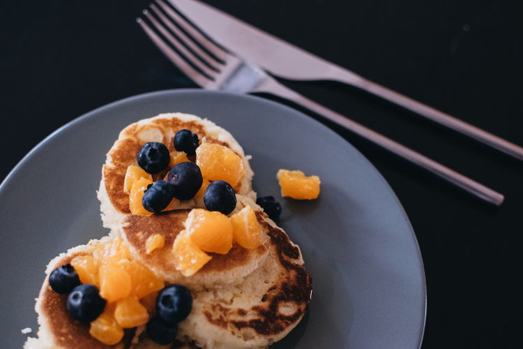 Breakfast Black Background Blueberry Close-up Dessert Eating Utensil Food Food And Drink Freshness Indulgence Japanese Pancakes Kitchen Utensil No People Plate Ready-to-eat Serving Size Still Life Sweet Sweet Food Temptation