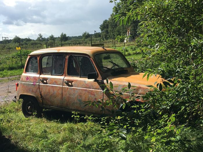 abandoned Renault 4 in the woods Classic Classic Car Classic Cars Renault 4 Abandoned Car Damaged Day Destruction Field Growth Land Vehicle Landscape Nature No People Outdoors Plant Sky Transportation Tree