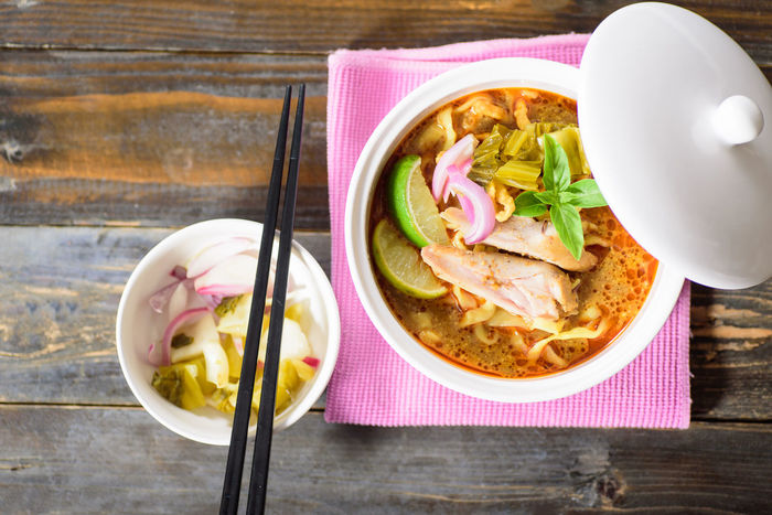 Northern Thai food Curry Diet Noodles Spicy Asian Food Bowl Chopsticks Close-up Day Food Food And Drink Freshness Healthy Eating Indoors  No People Northern Thai Food Plate Ready-to-eat Soup Soup Bowl Table Thai Food Top View Of Food Vegetable Vegetable Soup