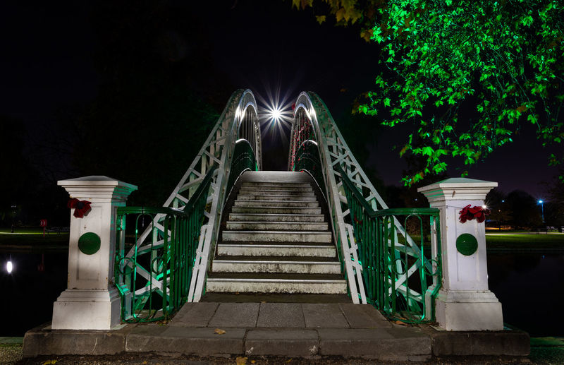 Suspension in Green! Night Illuminated The Way Forward Railing Plant Direction No People Architecture Nature Park Tree Built Structure Outdoors Park - Man Made Space Bridge Connection Green Color Bridge - Man Made Structure Footbridge Footpath Diminishing Perspective Starburst