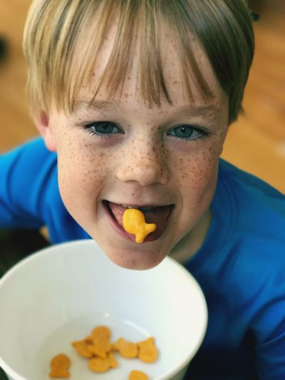 Young Boy Eating Snacks Happy Mood Smiles Satisfaction Innocence Enjoyment Snacktime Blue Eyes Blond Hair Boy With Freckles Silly Young Child Boy Freckles Eating Silly Boy Tongue Out Close-up Looking At Camera Being Silly Young Boy School Age One Person Real People Indoors  Happiness Headshot People Childhood Portrait