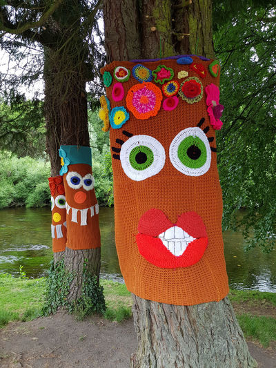 Yarn Bombing Anthropomorphic Art And Craft Faces Human Representation Knitted  Outdoors Tree Tree Trunk Trunk
