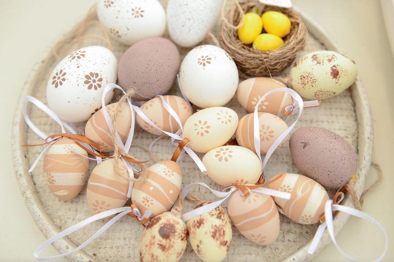 High angle view of eggs