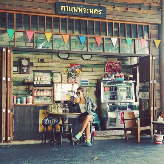 Good taste Good feeling Sitting Chair Old-fashioned Portrait One Woman Only Food And Drink Healthy Eating Vintage Style Vintagecafe