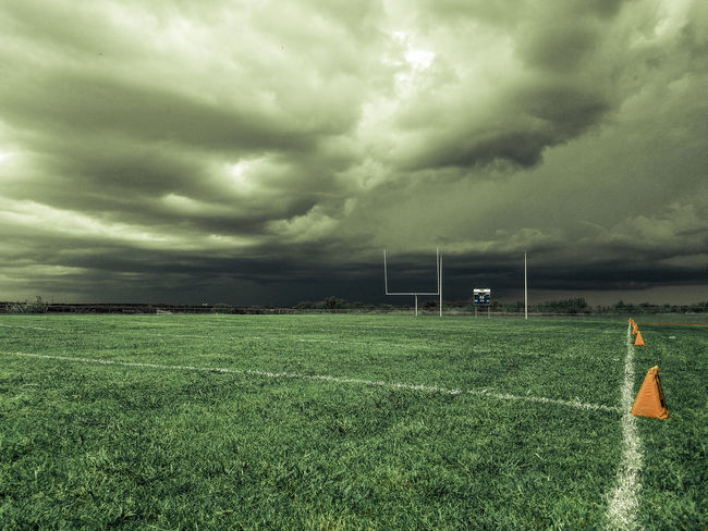 The Color Of Sport Landscape Field Overcast Storm Cloud Cloud - Sky Sky Weather Grass Tranquil Scene Rural Scene Scenics Cloudy Tranquility Cloudscape Nature Beauty In Nature Grassy Dramatic Sky Day Cloud Football Footballislife Grass Green Color
