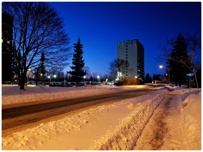My favorite winter evening colours! Ottawa Canada Winter Canada Tree Sky Night Outdoors No People Clear Sky Winter Snow Architecture City Bare Tree