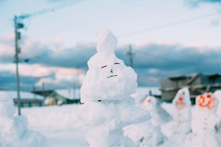 Close-up of anthropomorphic face on snow