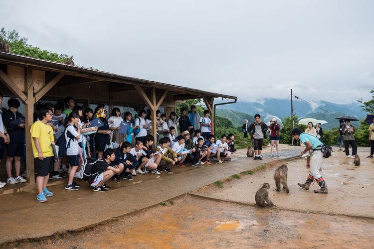 People looking at monkeys against cloudy sky