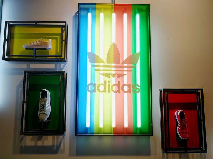 Adidas Adidas Adidasoriginals Shoes Neon Neon Lights Light No People Patriotism Politics And Government Day Travel Destinations Indoors  Multi Colored Close-up Architecture