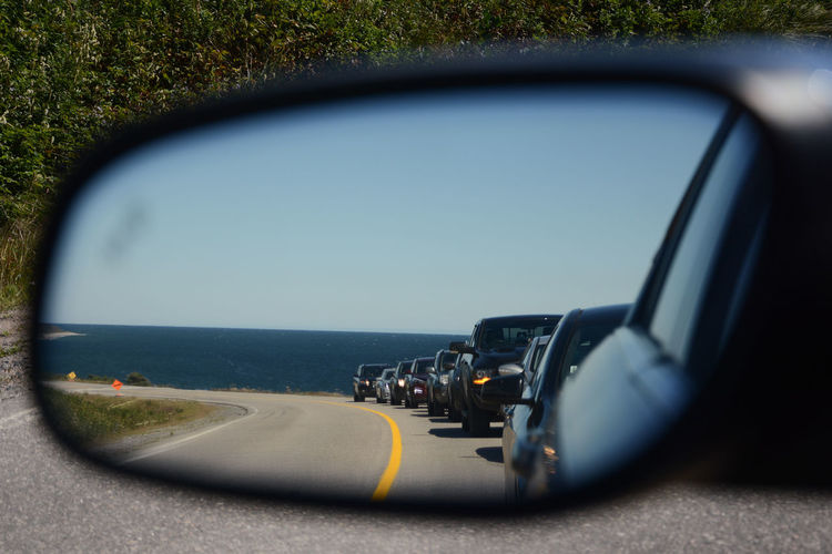 Car Side-view Mirror Mirror Clear Sky Horizon Sea Road Trip Road Roads Around The World Traveling Newfoundland Canada Reflection Travel Photography Sunny Day It's About The Journey