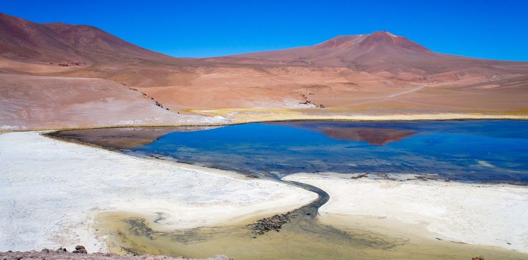 Salar de maricunga Mountain Landscape Volcano Volcanic Landscape Geology Nature Beauty In Nature Scenics Arid Climate Outdoors Physical Geography Day No People Travel Destinations Blue Mountain Range Hot Spring Water Sky Fresh On Market 2017